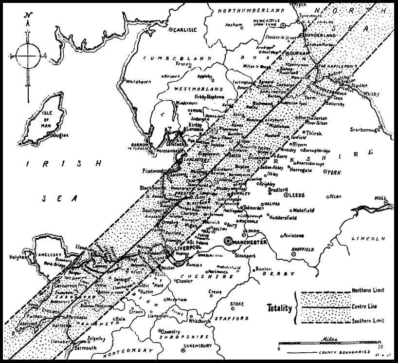 Map of North West England, showing 1927 Eclipse Track